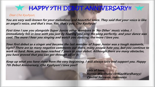 Fan Letter for Kyuhyun's 7th Debut Anniversary