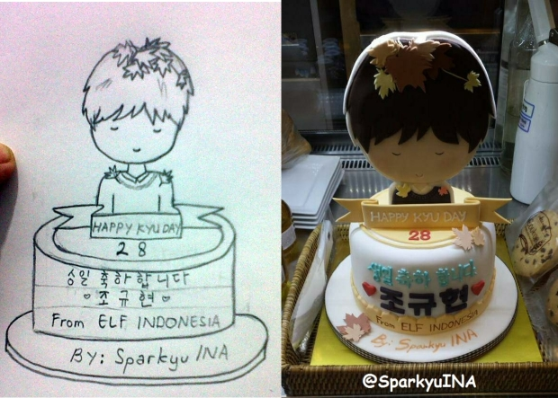 "She was the one who made the sketch of the ""Kyuhyun's 28th Birthday"" cake ^^ we sent the cake to MOM house, and THEY DISPLAYED IT UNTILL TODAY ^^ Your sketch, mey,,,, <3"