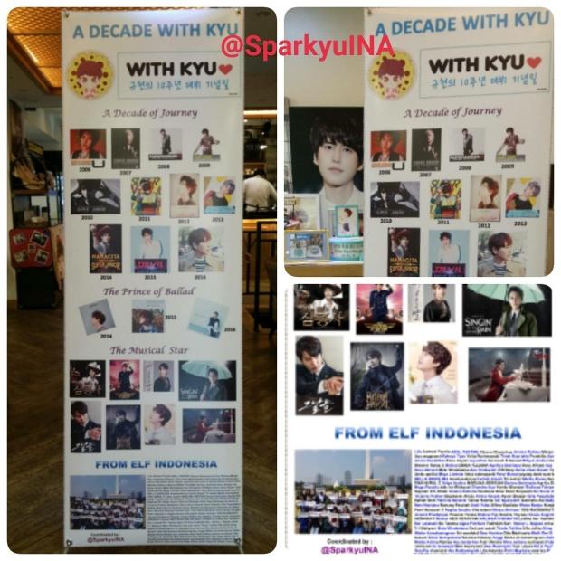 Standing banner berisi perjalanan karir Kyuhyun selama 10 tahun, Foto grup di Monas, dan nama-nama ELF yang ikut project ini